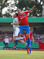 18.08.2018, Football DFB Pokal 2018/2019, 1. round, SV Drochtersen Assel - FC Bayern Muenchen, Kehdinger stadium Drochtersen.  Robert Lewandowski (Bayern Muenchen)  -  and Laurens Rogowski (SV Drochtersen-Assel)<br /><br /><br />***DFB rules prohibit use in MMS Services via handheld devices until two hours after a match and any usage on internet or online media simulating video foodaye during the match.*** *** Local Caption *** © pixathlon<br /> <br /> Contact: +49-40-22 63 02 60 , info@pixathlon.de