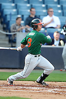 """Miami Hurricanes Michael Broad #8 during a game vs. the University of South Florida Bulls in the """"Florida Four"""" at George M. Steinbrenner Field in Tampa, Florida;  March 1, 2011.  USF defeated Miami 4-2.  Photo By Mike Janes/Four Seam Images"""