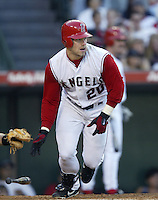 Brad Fullmer of the Los Angeles Angels bats during a 2002 MLB season game at Angel Stadium, in Anaheim, California. (Larry Goren/Four Seam Images)