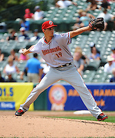 Harrisburg Senators pitcher A.J. Cole (19) during game against the Trenton Thunder at ARM & HAMMER Park on July 31, 2013 in Trenton, NJ.  Harrisburg defeated Trenton 5-3.  (Tomasso DeRosa/Four Seam Images)