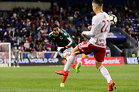 Harrison, NJ - Tuesday April 10, 2018: Carlos Cisneros during leg two of a  CONCACAF Champions League semi-final match between the New York Red Bulls and C. D. Guadalajara at Red Bull Arena. C. D. Guadalajara defeated the New York Red Bulls 0-0 (1-0 on aggregate).