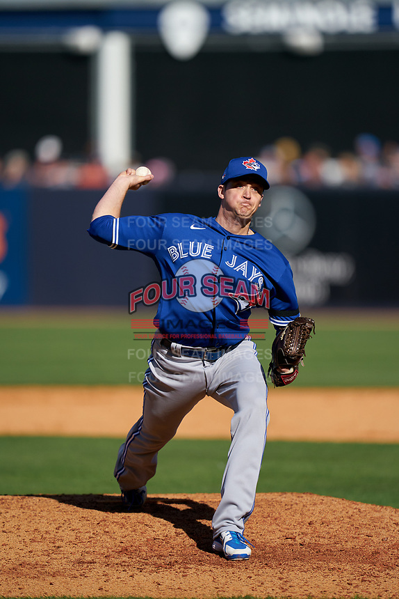 Toronto Blue Jays pitcher Jake Petricka (58) during a Spring Training game against the New York Yankees on February 22, 2020 at the George M. Steinbrenner Field in Tampa, Florida.  (Mike Janes/Four Seam Images)