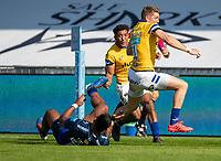 13th September 2020; AJ Bell Stadium, Salford, Lancashire, England; English Premiership Rugby, Sale Sharks versus Bath;  Ruaridh McConnochie of Bath Rugby evades  Manu Tuilagi of Sale Sharks