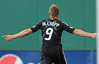 DC United forward Danny Allsopp (9) celebrates his goal in the minute 12th of the game.  DC United defeated The Kansas City Wizards  2-0 at RFK Stadium, Wednesday  May 5, 2010.