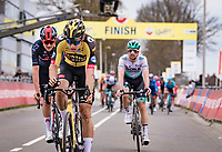 Wout van Aert (BEL/Jumbo-Visma) wins the 55th Amstel Gold Race 2021 (1.UWT) in a milimeter finish sprint against  Tom Pidcock (GBR/Ineos Grenadiers). <br /> Maximilian Schachmann (DEU/BORA - hansgrohe) finishes 3rd.<br /> <br /> 1 day race from Valkenburg to Berg en Terblijt; raced on closed circuit (NED/217km)<br /> <br /> ©kramon