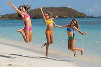 Girls at the beach<br /> Hawks nest Beach<br /> Virgin Islands National Park<br /> St. John<br /> US Virgin Islands