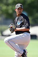 Toronto Blue Jays minor league pitcher Misaul Diaz during a game vs. the Detroit Tigers in an Instructional League game at Tiger Town in Lakeland, Florida;  October 13, 2010.  Photo By Mike Janes/Four Seam Images