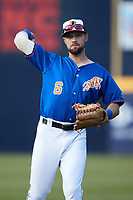 Nathan Lukes (6) of the Durham Bulls warms up in the outfield prior to the game against the Jacksonville Jumbo Shrimp at Durham Bulls Athletic Park on May 15, 2021 in Durham, North Carolina. (Brian Westerholt/Four Seam Images)