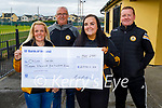 A delighted Chloe Smith, winner of the Austin Stacks GAA lotto of €13,500:00 presented with her winning cheque on Tuesday evening at the clubhouse. L to r: Lorraine Healy, John Tobin, Chloe Smith and Richard Healy.
