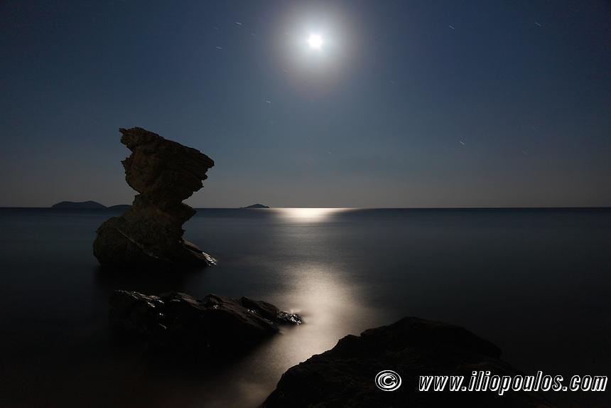Aegean under moonlight at Andros island, Greece