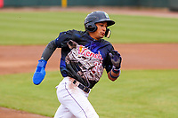 Cedar Rapids Kernels infielder Royce Lewis (30) rounds third base during a Midwest League game against the Kane County Cougars on April 21, 2018 at Perfect Game Field at Veterans Memorial Stadium in Cedar Rapids, Iowa. Kane County defeated Cedar Rapids 9-2. (Brad Krause/Four Seam Images)
