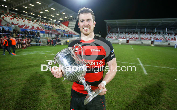 Friday 6th March 2020 | Armagh RFC vs Ballynahinch RFC<br /> <br /> City of Armagh RFC captain Robert Whitten with the Bank Of Ireland Ulster Senior Cup after his side defeated Ballynahinch RFC in the Bank Of Ireland Ulster Senior Cup Final at Kingspan Stadium, Ravenhill Park, Belfast, Northern Ireland. Photo by John Dickson / DICKSONDIGITAL