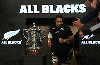 All Blacks captain Sam Whitelock runs out for the Bledisloe Cup rugby match between the New Zealand All Blacks and Australia Wallabies at Eden Park in Auckland, New Zealand on Saturday, 14 August 2021. Photo: Simon Watts / lintottphoto.co.nz / bwmedia.co.nz