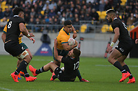 Australia's Hunter Paisami is tackled during the Bledisloe Cup rugby union match between the New Zealand All Blacks and Australia Wallabies at Sky Stadium in Wellington, New Zealand on Saturday, 27 July 2019. Photo: Mike Moran / lintottphoto.co.nz