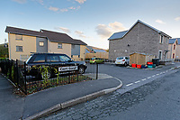 "Pictured: The car park area where the suspicious package was discovered off Spencer Terrace in the Gurnos area of Cwmtwrch, Ystradgynlais in south Wales, UK.<br /> Re: ""Dyfed-Powys Police is currently dealing with a report of a suspicious item at Spencer Terrace, Lower Cwmtwrch. The item is described as a small box. Road closures are in place at Spencer Terrace and Heol Abraham, and a cordon is in place as a precaution. An Ordinance Disposal team is on their way and members of the public are asked to avoid the area so the incident can be dealt with safely. No further information is available."""