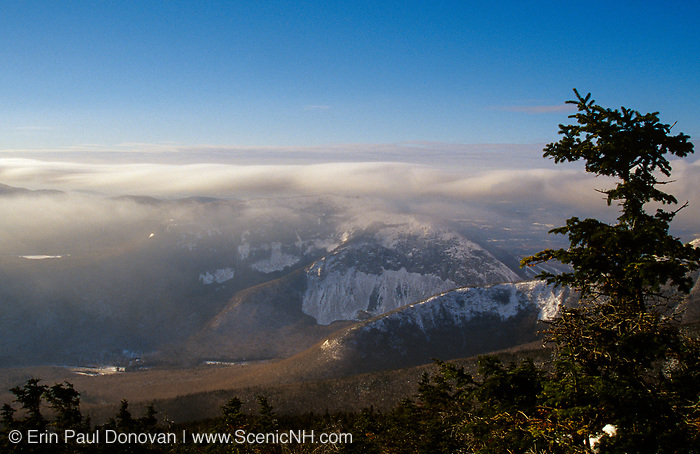 Franconia Notch State Park from the summit of Little Haystack Mountain in the White Mountains, New Hampshire USA.