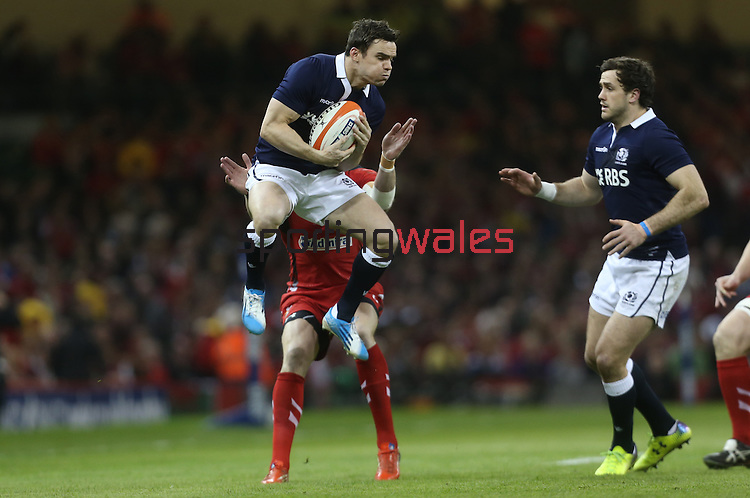 Scotland wing Max Evans catches the early high ball.<br /> RBS 6 Nations 2014<br /> Wales v Scotland<br /> Millennium Stadium<br /> <br /> 15.03.14<br /> <br /> ©Steve Pope-SPORTINGWALES