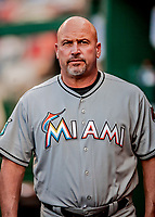26 September 2018: Miami Marlins Third Base Coach Fredi Gonzalez in the dugout during a game against the Washington Nationals at Nationals Park in Washington, DC. The Nationals defeated the visiting Marlins 9-3, closing out Washington's 2018 home season. Mandatory Credit: Ed Wolfstein Photo *** RAW (NEF) Image File Available ***
