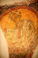 Rare 12th Century Greek Orthodox Byzantine Fresco in the Church of the Ayioi Apstoloi  Katomeria, Kea, Greek Cyclades Islands