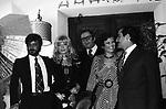 GIANCARLO GIANNINI CON MONICA VITTI, CLAUDIA CARDINALE E VITTORIO GASSMAN <br /> ROMA 1983