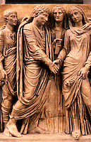 Greek Art:  Marriage Ceremony--Sarcophagus, now missing, between bride and groom. The small God Hymenaseus, the flame of whose torch, carried in wedding procession, is seen against bride's robes.  Rome.