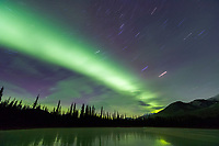 Green bands of northern lights, aurora borealis over a frozen lake, Brooks Range, Arctic, Alaska