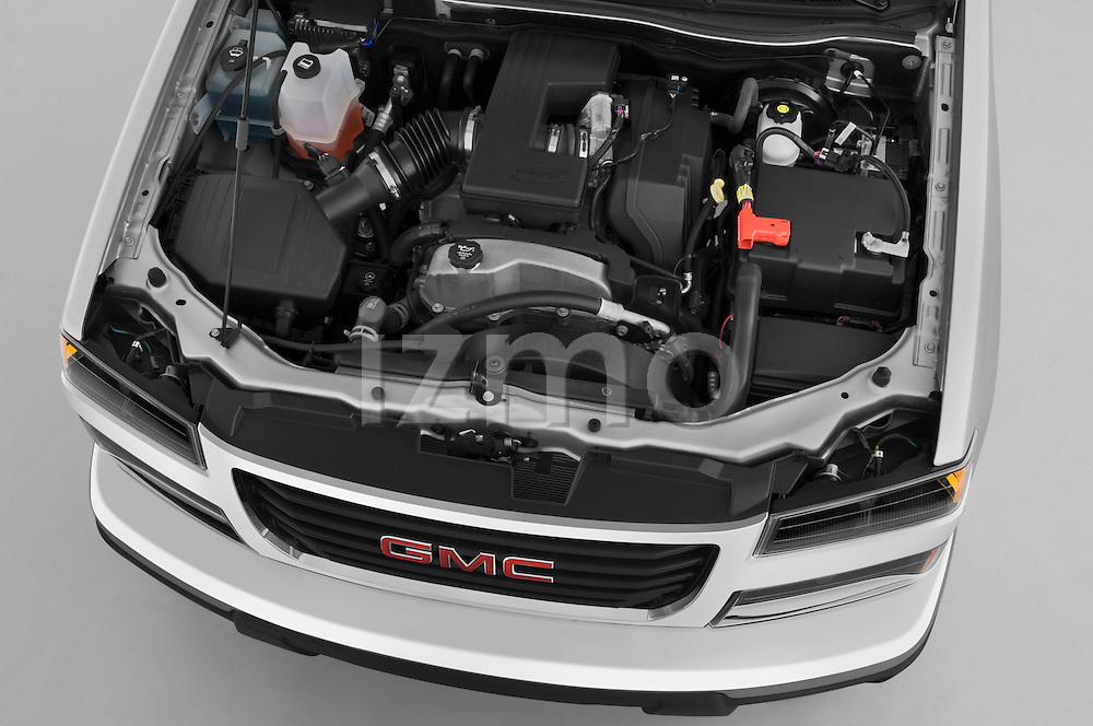 High angle engine detail of a 2009 GMC Canyon SLE Extended Cab .