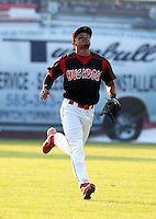 Batavia Muckdogs outfielder Virgil Hill #1 during a game against the Auburn Doubledays at Dwyer Stadium on June 17, 2011 in Batavia, New York.  Auburn defeated Batavia in the season opener 6-1.  (Mike Janes/Four Seam Images)