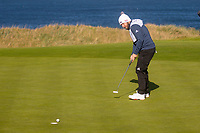 1st October 2021; Kingsbarns Golf Links, Fife, Scotland; European Tour, Alfred Dunhill Links Championship, Second round; Tyrrell Hatton of England holes a birdie putt to move to ten under par at Kingsbarns Golf Links