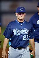 Corpus Christi Hooks Sean Stutzman (22) walks back to the dugout after a game against the Tulsa Drillers on June 3, 2017 at ONEOK Field in Tulsa, Oklahoma.  Corpus Christi defeated Tulsa 5-3.  (Mike Janes/Four Seam Images)