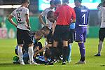 09.08.2019, BWT-Stadion am Hardtwald, Sandhausen, GER, DFB Pokal, 1. Runde, SV Sandhausen vs. Borussia Moenchengladbach, <br /> <br /> DFL REGULATIONS PROHIBIT ANY USE OF PHOTOGRAPHS AS IMAGE SEQUENCES AND/OR QUASI-VIDEO.<br /> <br /> im Bild: Jonas Hofmann (#23, Borussia Moenchengladbach) mit Verletzung am Boden, muss behandelt werden<br /> <br /> Foto © nordphoto / Fabisch