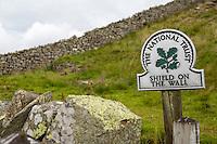 Northumberland,  England, UK.  Trail Sign Marking Milecastle 33 on Hadrian's Wall.