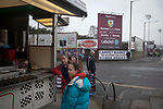 People at a burger van outside the stadium before Burnley hosted Everton in an English Premier League fixture at Turf Moor. Founded in 1882, Burnley played their first match at the ground on 17 February 1883 and it has been their home ever since. The visitors won the match 5-1, watched by a crowd of 21,484.