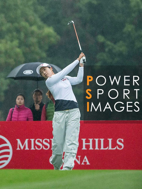 Bo Kyung Kim of South Korea tees off at the 17th hole during Round 3 of the World Ladies Championship 2016 on 12 March 2016 at Mission Hills Olazabal Golf Course in Dongguan, China. Photo by Victor Fraile / Power Sport Images