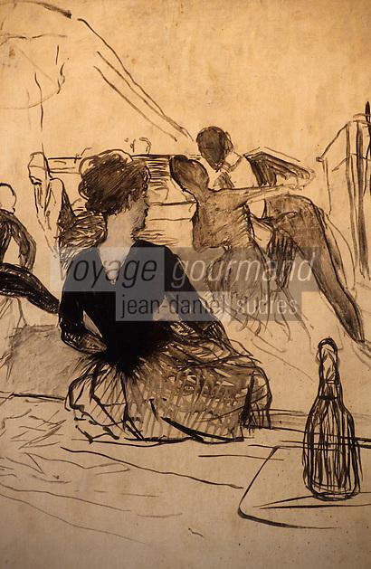 Europe/France/Midi-Pyrénées/81/Tarn/Albi: Musée Toulouse Lautrec - Au bal de l'Elysée Montmartre (1887) Dessin de Toulouse Lautrec