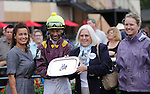 September 3, 2012. Easter Gift, ridden by Kendrick Carmouche and trained by Nick Zito, wins the grade III Smarty Jones Stakes at Parx Racing. Pat Chapman (second from left), owner of Smarty Jones, joins Carmouche in the winner's circle. (Joan Fairman Kanes/Eclipse Sportswire)