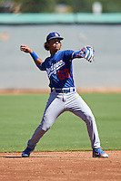 Los Angeles Dodgers Ronny Brito (63) during an Instructional League game against the Cleveland Indians on October 10, 2016 at the Camelback Ranch Complex in Glendale, Arizona.  (Mike Janes/Four Seam Images)