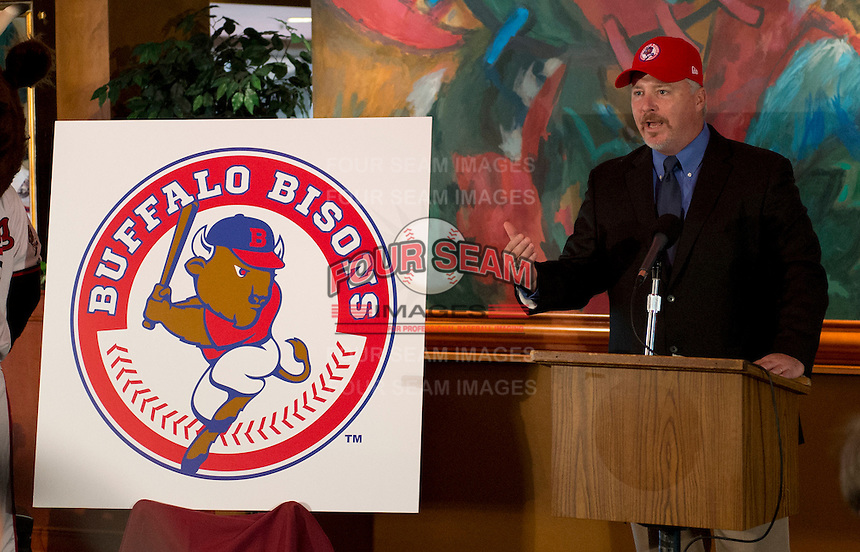 Buffalo Bisons manager Marty Brown addresses the media during a press conference introducing him as the new manager for their affiliation with the Toronto Blue Jays at Coco-Cola Field on November 20, 2012 in Buffalo, New York.  (Mike Janes/Four Seam Images)