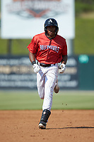 Bryce Bush (30) of the Piedmont Boll Weevils rounds the bases after hitting a home run against the Greensboro Grasshoppers at Kannapolis Intimidators Stadium on June 16, 2019 in Kannapolis, North Carolina. The Grasshoppers defeated the Boll Weevils 5-2. (Brian Westerholt/Four Seam Images)