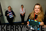 """Nollaig Barry (front left) launching their virtual Ipad """"Comfort for Covid, Human Connection, where patients can talk to family and friends during visiting hours through tablets, on Friday. Back l to r: Aishling O'Carroll and Eimear Hallissey."""