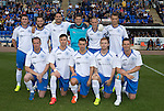 St Johnstone v Hearts...03.08.14  Steven Anderson Testimonial<br /> Back from left, Tam Scobbie, Stevie May, Gary Miller, Stevie Banks, Steven Anderson and Ally Gilchrist, front from leftm David Clarkson, Michael O'Halloran, Mark Miller, Liam Caddis and Gary McDonald<br /> Picture by Graeme Hart.<br /> Copyright Perthshire Picture Agency<br /> Tel: 01738 623350  Mobile: 07990 594431
