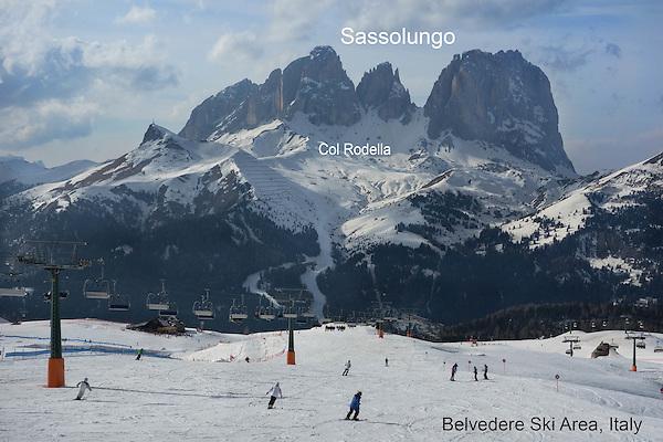 Belvedere Ski Area with Sasslungo behind, Canazei, Italy HP Winter Games 2014,