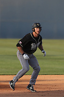 John Schuknecht (48) of the Cal Poly Mustangs runs the bases during a game against the Cal State Fullerton Titans at Goodwin Field on April 2, 2015 in Fullerton, California. Cal Poly defeated Cal State Fullerton, 5-0. (Larry Goren/Four Seam Images)