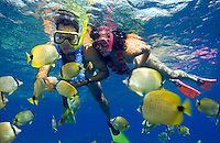 Couple snorkeling with leis