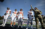 The Bishop Gorman captains call the coin toss at the start of the NIAA 4A state championship football game in Reno, Nev., on Saturday, Dec. 2, 2017. Gorman defeated Reed 48-7. Cathleen Allison/Las Vegas Review Journal @NVMomentum