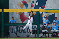 Starlin Rodriguez (27) of the Springfield Cardinals makes a leaping catch during a game against the Northwest Arkansas Naturals at Hammons Field on August 23, 2013 in Springfield, Missouri. (David Welker/Four Seam Images)