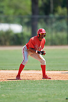 Philadelphia Phillies Johan Rojas (33) leads off first base during an Instructional League game against the Detroit Tigers on September 19, 2019 at Tigertown in Lakeland, Florida.  (Mike Janes/Four Seam Images)