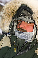 Tim Osmar is frosted up after her arrival in Takotna on Thursday morning where she'll take her 24 hour layover