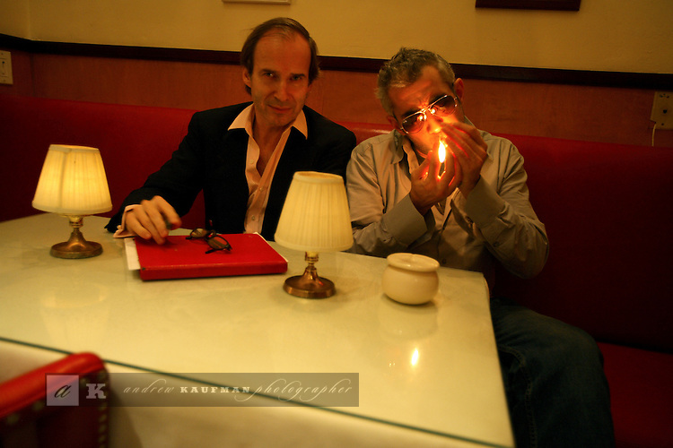 Simon de Pury and artist Philippe Pernin at the Raleigh Hotel.....Art Basel invades Miami every year in December. This is it's fifth year in South Florida. Galleries from all around the world come to Miami to show their latest works. Over $100 million worth of art was sold during the week of December 7-10.
