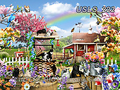 Lori, REALISTIC ANIMALS, REALISTISCHE TIERE, ANIMALES REALISTICOS, zeich, paintings+++++Kitties On The Farm In The Spring,USLS222,#a#, EVERYDAY ,puzzle,puzzles